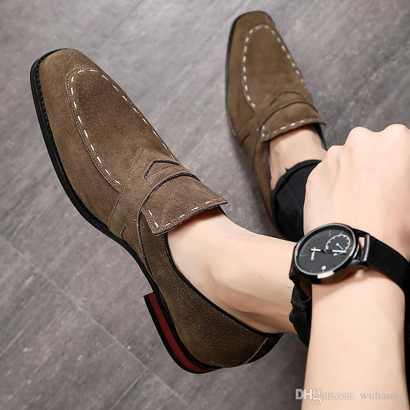 Fashion Loafers Formal Shoes Men Big Size 45-48 Pig Suede Man Office Shoes Leather Solid Rubber Cozy Casual Shoes For Men