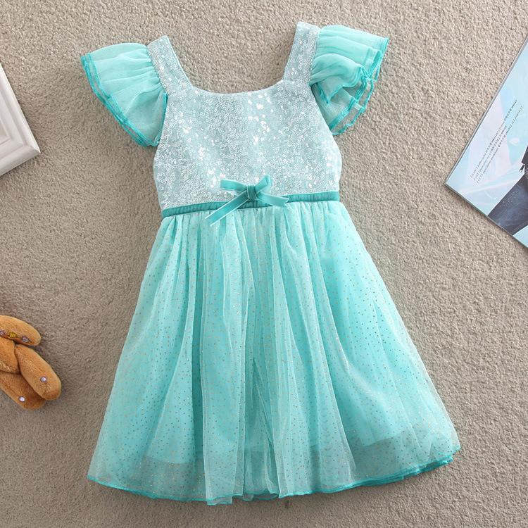 Vieeoease Girls Dress Sequins Kids Clothing 2020 Summer Fashion Fly Sleeve Vest Lace Tutu Princess Party Dress KU-038