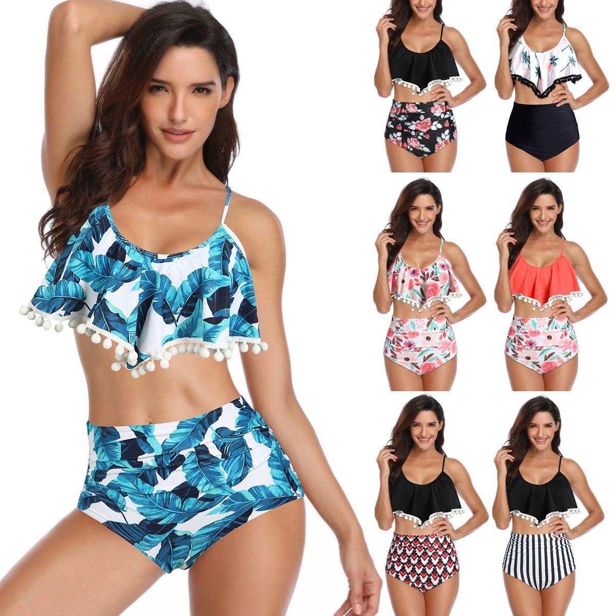 Lotus leaf lace ball high waist coconut tree printed lady bikini women swimsuit summer hot sale