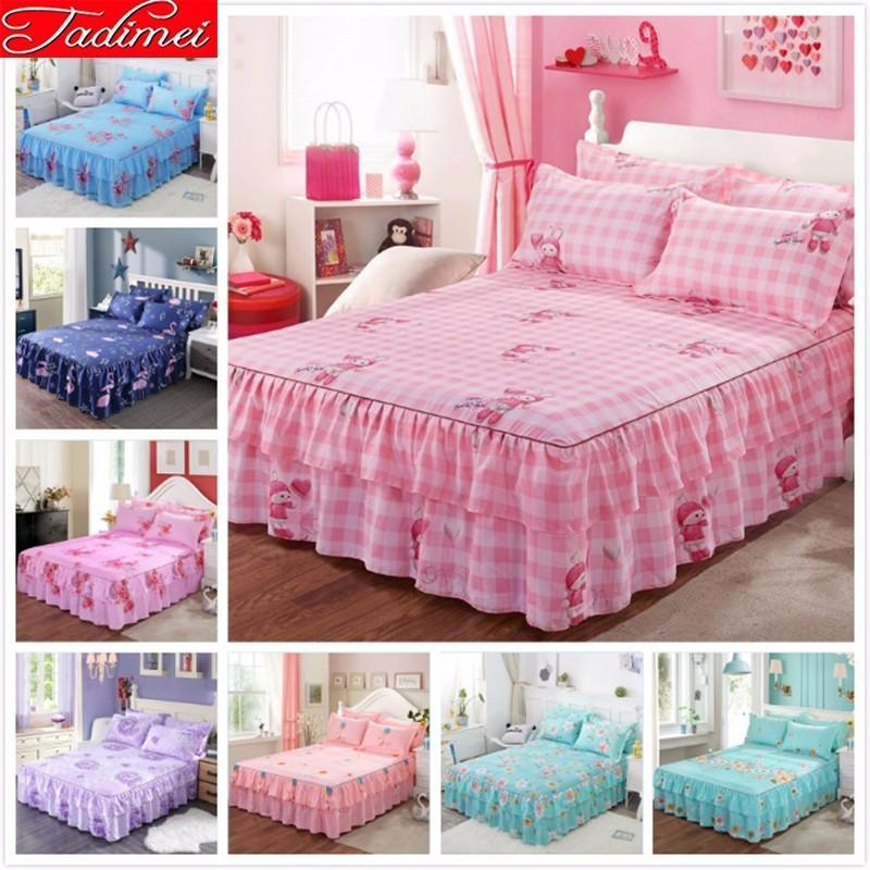 Fashion Girl Bed Skirts 1.2m 1.5m 1.8m 2m Bed Cover Adult Kids Child Soft Cotton Linen Single Full Queen King Size Bedspread