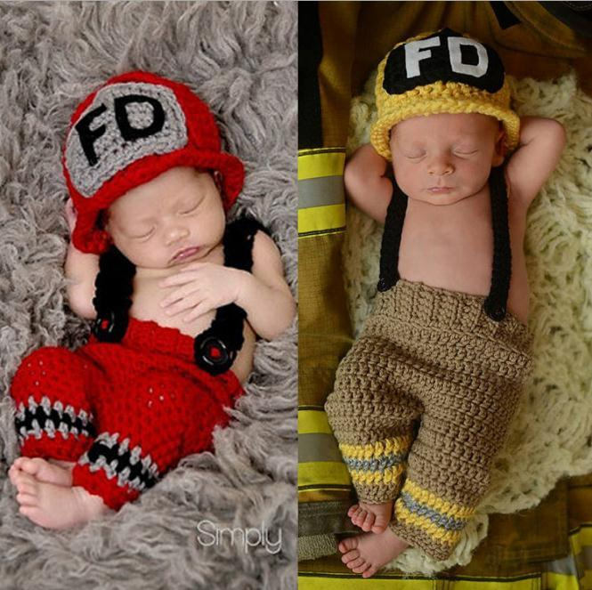 Main Crochet Bébé Pompier Tenue Nouveau-Né Photo Props Tricoté Bébé Costume De Noël Tenue Bébé douche cadeau