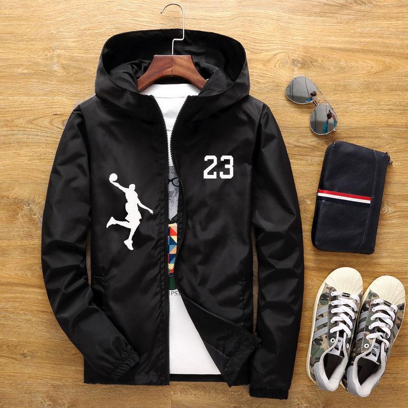 재킷 남자 여자 트렌치 코트 2020 봄과 가을 패션 농구 23 자켓 남자 후드 캐주얼 얇은 남자의