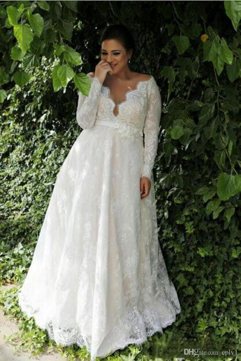Plus Size manga comprida Praia Lace A vestidos de casamento de linha vestidos de noiva 2020 vestidos de noiva V Neck País Vestidos De Novia H090