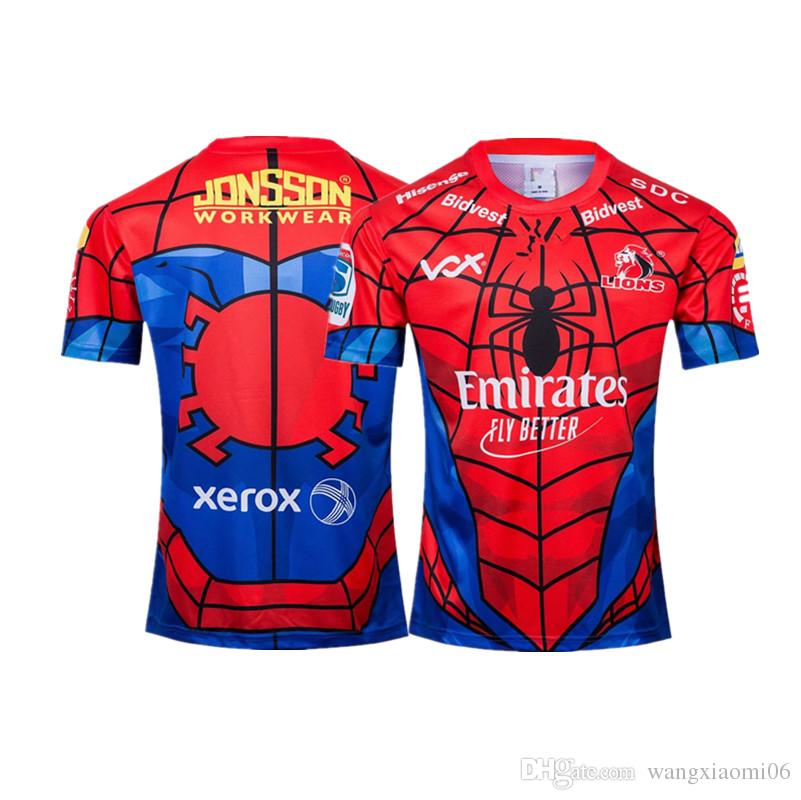 2019 NEW ZEALAND Super RUGBY Lions SPIDER-MAN MARVEL RUGBY JERSEY size S-XXXL Rugby League shirt jersey Top quality free shipping