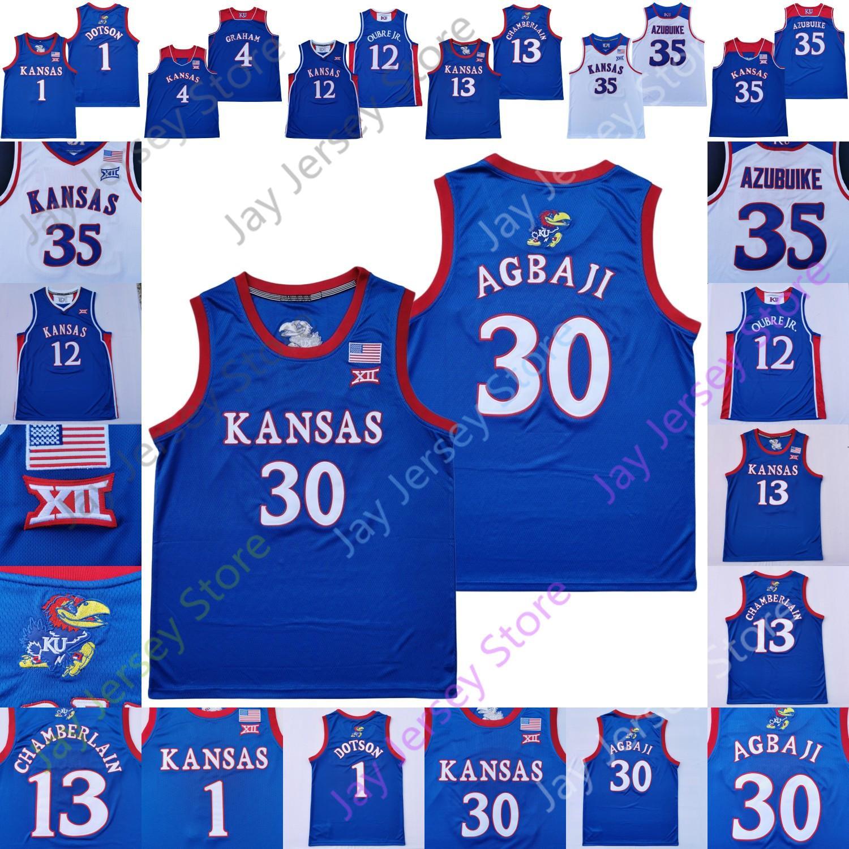 2020 personnalisé Kansas Basketball Jersey College Devon Dotson Ochai Agbaji Marcus Garrett Udoka Azubuike Isaïe Moss Tristan Enaruna