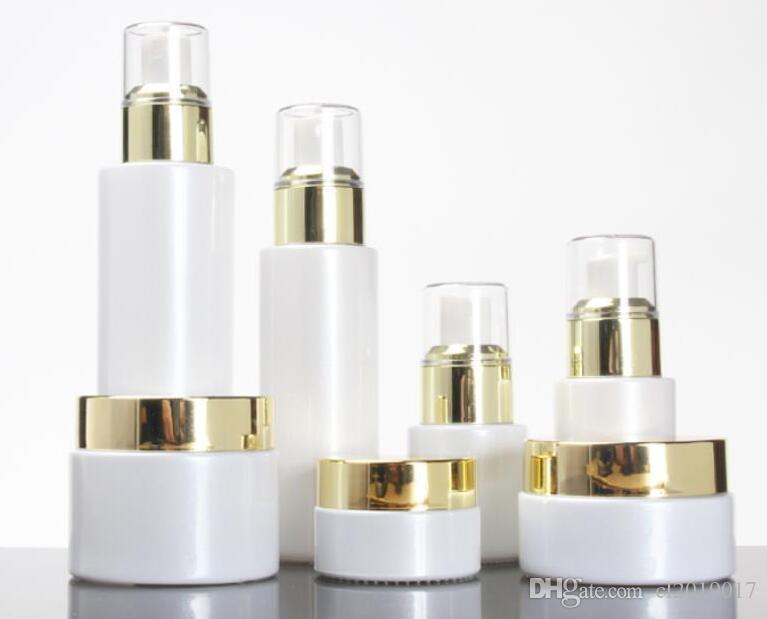 Boş 30 / 50g Beyaz Cam Kavanoz 20/30 / 100 ml Beyaz Cam Pompa Losyonu / Sprey Şişesi Altın Collear Kapakları