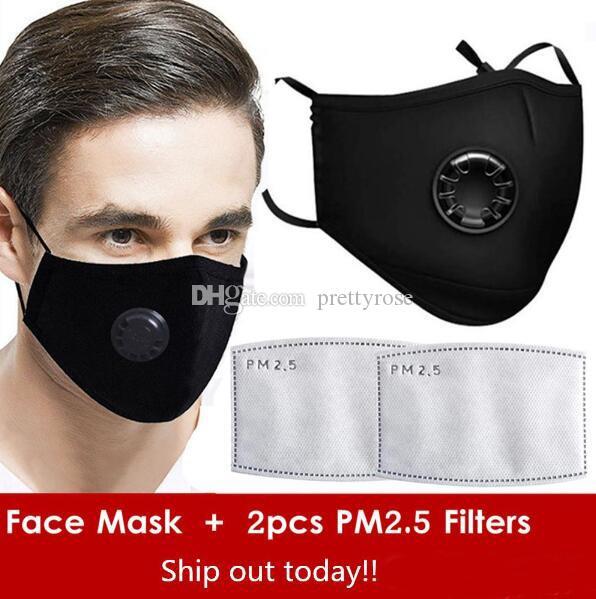 Souffle réutilisable Masque Valve PM2,5 bouche masque anti-poussière anti pollution pour homme et femme masque noir Protection bouche + Free 2 Filtres