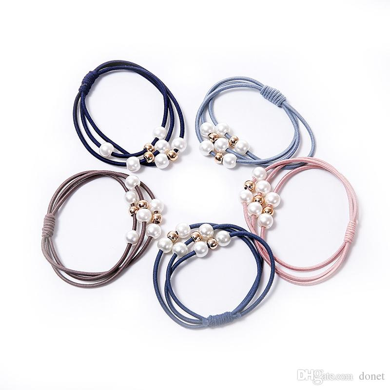 Lovely Hair Rope Rubber Band Hair Ring with Pearls Leather Cover Head Rope Korean
