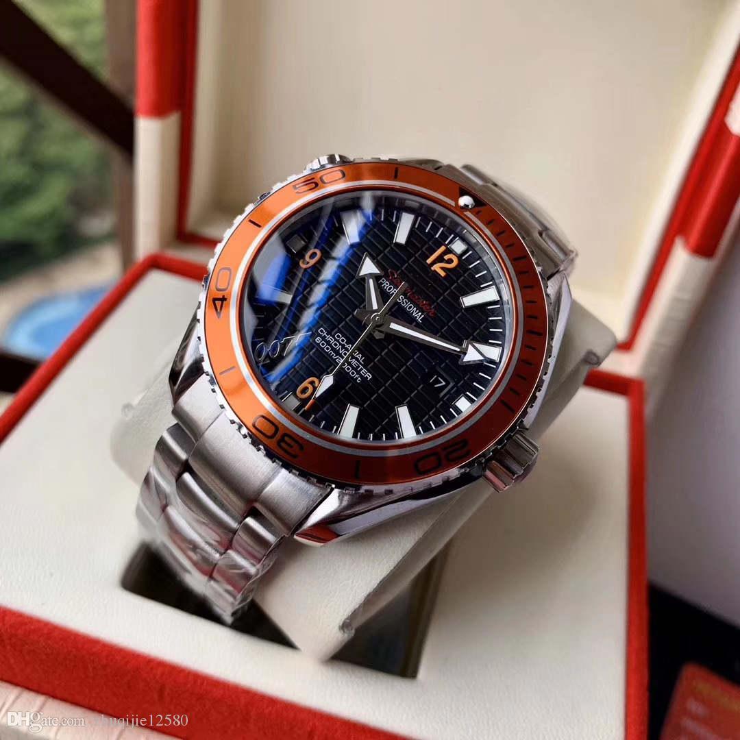 2019 nouvelles montres pour hommes de marque de luxe super mouvement 007 montre 43.5mm Montre automatique des hommes imperméables de l'acier inoxydable montres