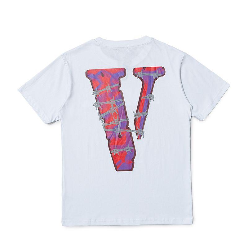 Vlone manera a estrenar camiseta para hombre Streetwear mujeres de los hombres de Hip Hop corto Sleev para hombre del estilista camisetas Negro Blanco