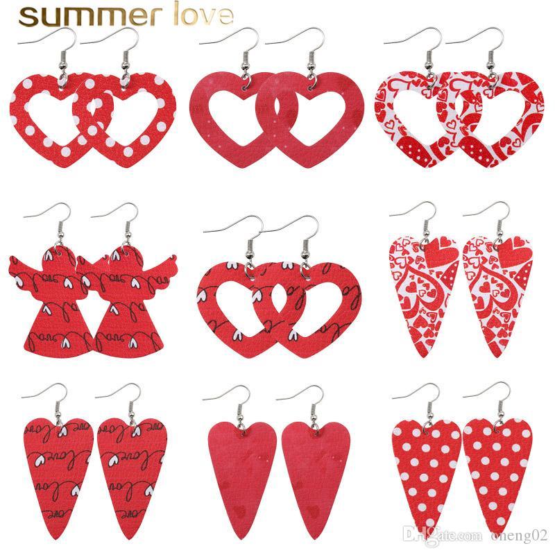 Red Heart Hollow Design Drop Earrings Faux Leather Angel Print Double Side Light Weight Dangle Earring Geometric Statement Jewelry Gift