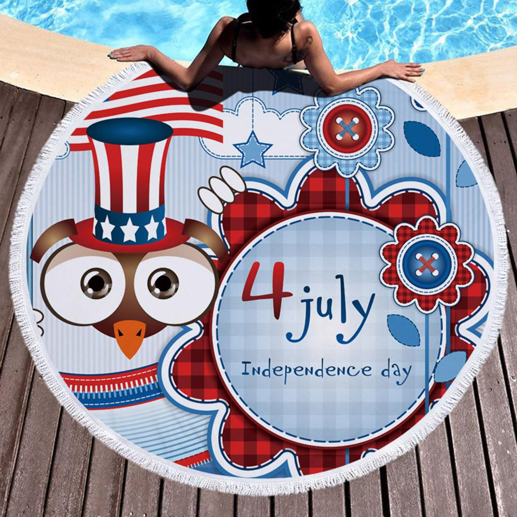 Independence Day rotonda Beach Pool Home telo doccia Coperta Tovaglia Yoga Mat Beach esterna Asciugamano Dropshipping 2019