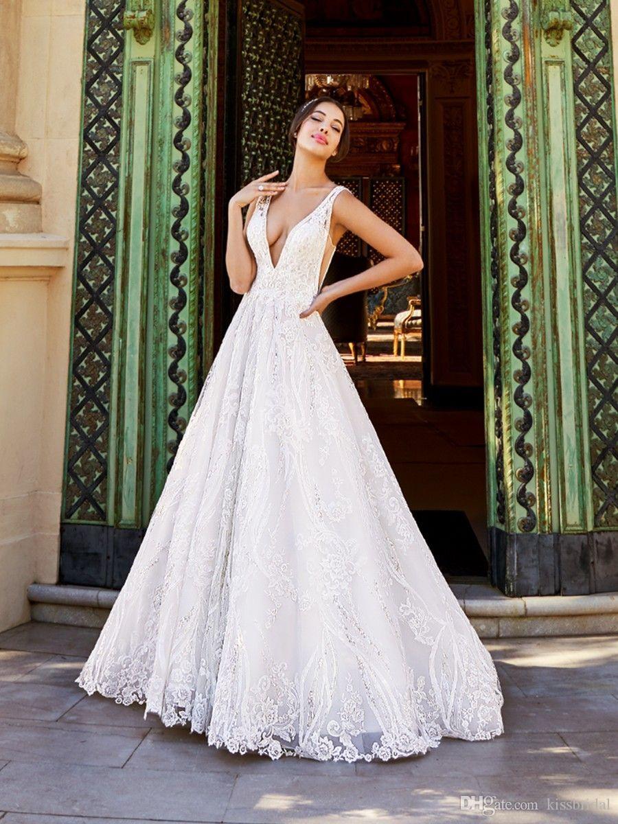 Profundo Decote Em V Vestidos de Casamento A Linha Backless Frisado Lace Vestidos de Noiva vestidos de novia Sexy Noiva Vestido Formal