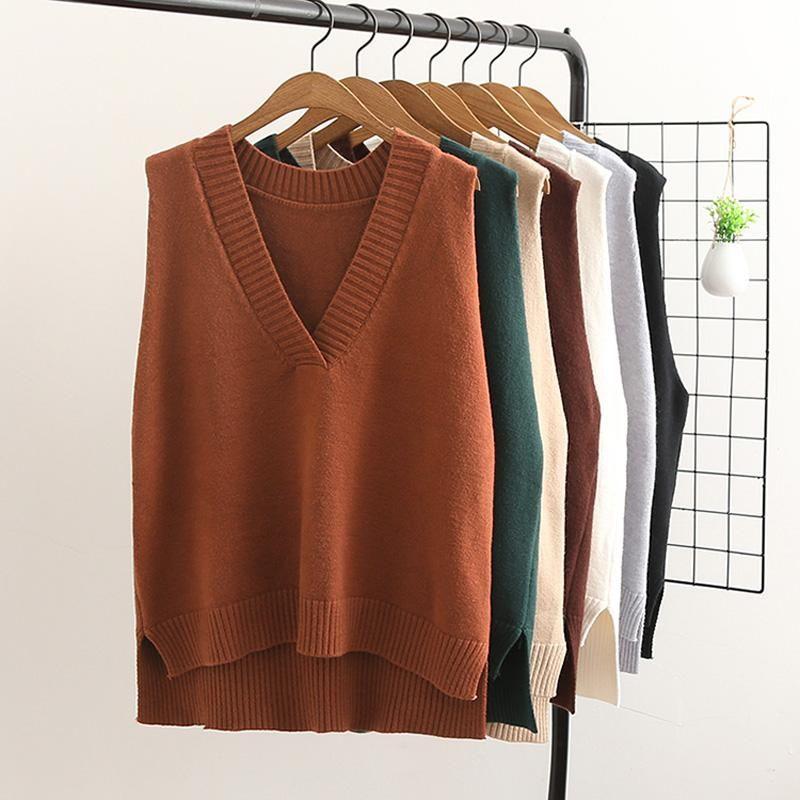 2019 весна осень новое прибытие шерстяной свитер жилет трикотажные женщины свободные рукава жилет V-образным вырезом женские пуловеры свитер LJ2207