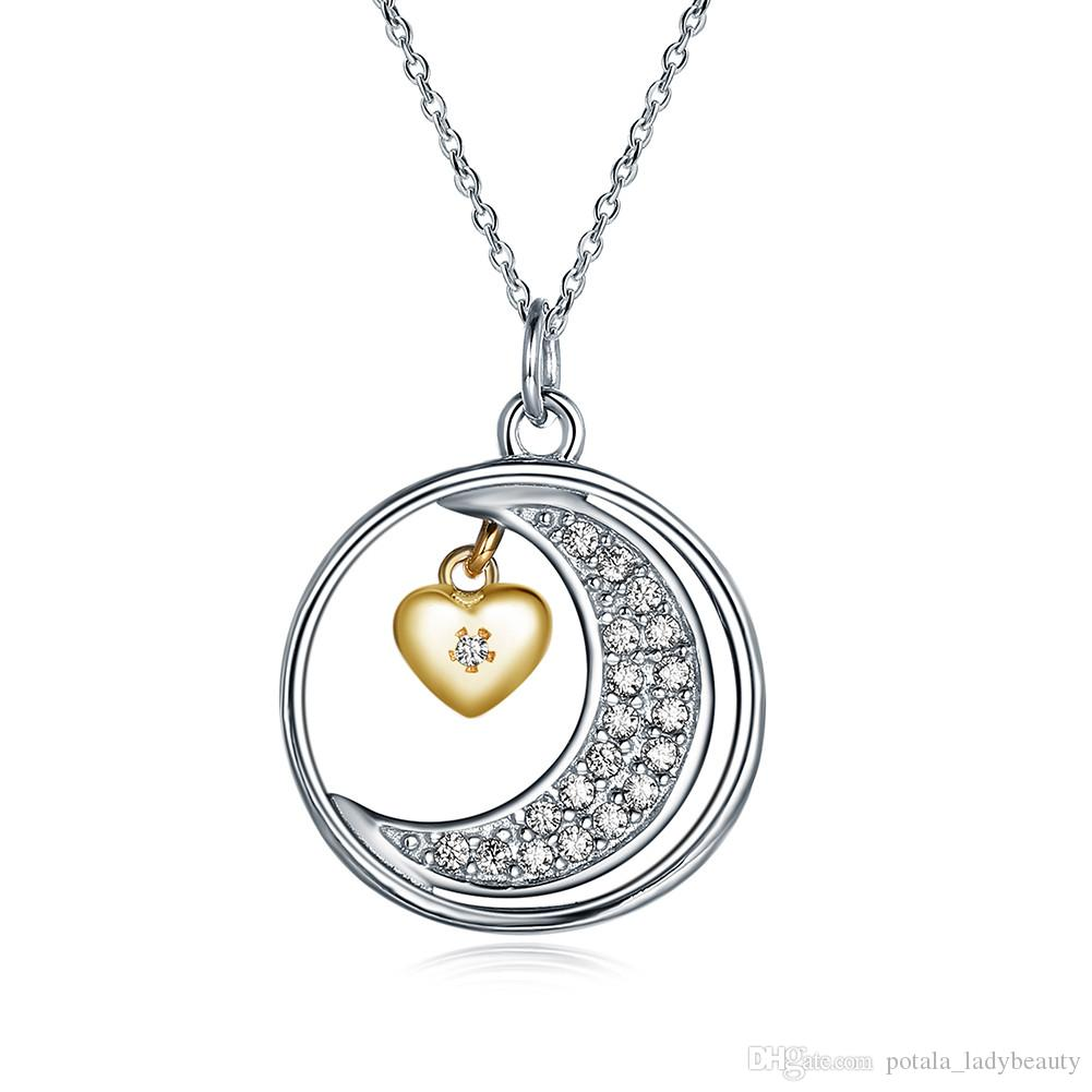 HACOOL S925 Sterling Silver I Love You to the Moon and Back Heart Charm Pendant Necklace