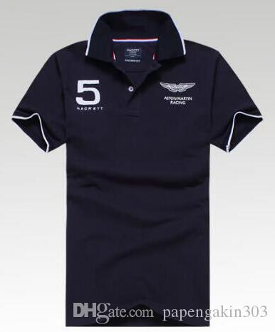 UK Hackett corsa Polo Gran Bretagna slim fit in cotone manica corta Inghilterra Design London Brit HKT Sport Polo Casual T-shirt Jersey