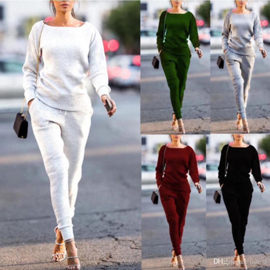2Pcs Womens Hoodies Sweatshirt Tracksuit Pants Set Sports Gym Wear Casual Suit