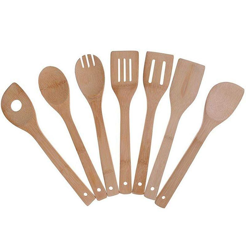 Bamboo Cooking Utensils Set, 7 Pack Kitchen Tools Wooden Spoons and Spatula 11.8 Inch, Best for Non Sticky Pans and Cookware