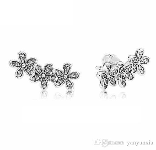 الأصلي 925 حلق فضة الإبهار ديزي الكتل مع كريستال القرط الأزرار للمجوهرات هدية المرأة الزفاف الأزياء