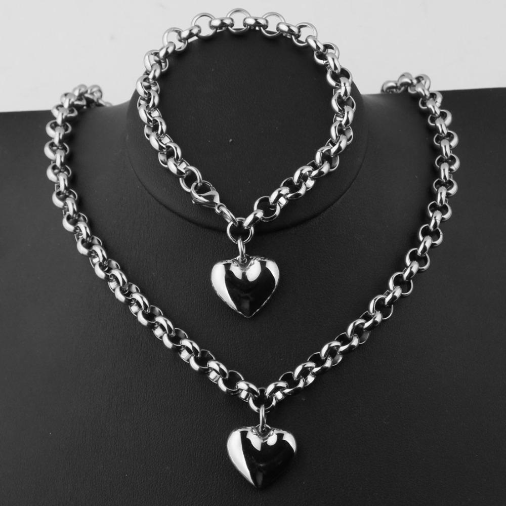 "Hohe Qualität Niedlichen Ton 316L Edelstahl Silber Rolo Kette Anhänger Halskette 18 ""Armband 8"" Womens Schmuck Sets Charme"