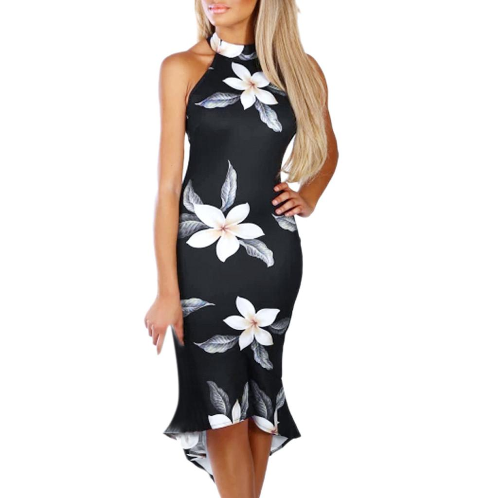 Women Off Shouder Blooming Babe Floral Dip Hem Party Evening Bodycon Midi Dress Vintage Sexy Slim Dresses Vestido Mujer#30