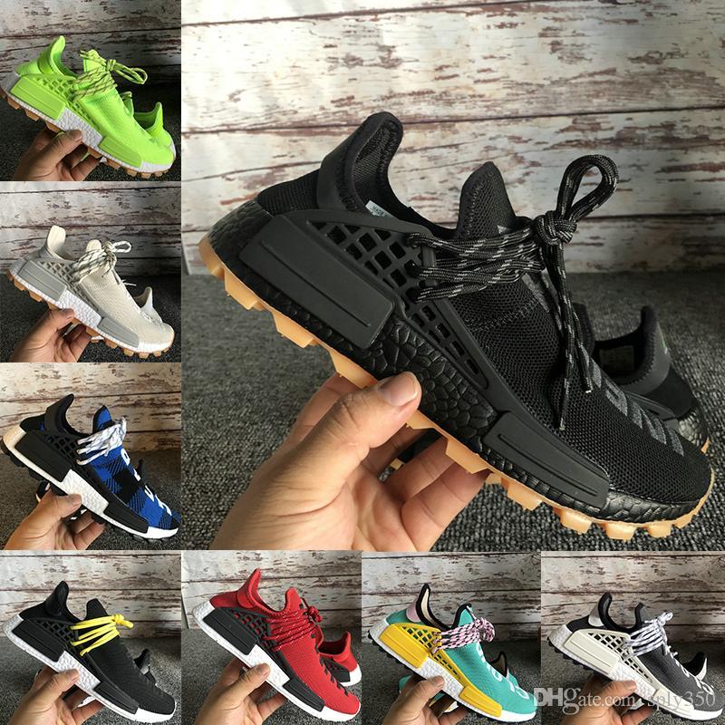 kutu NMD insan ırkı sonsuz türler ayakkabı erkeklerin kadınları çalıştıran ile Pharrell Williams Hu Turuncu Türler Siyah stilist spor ayakkabıları eğitmenler mens