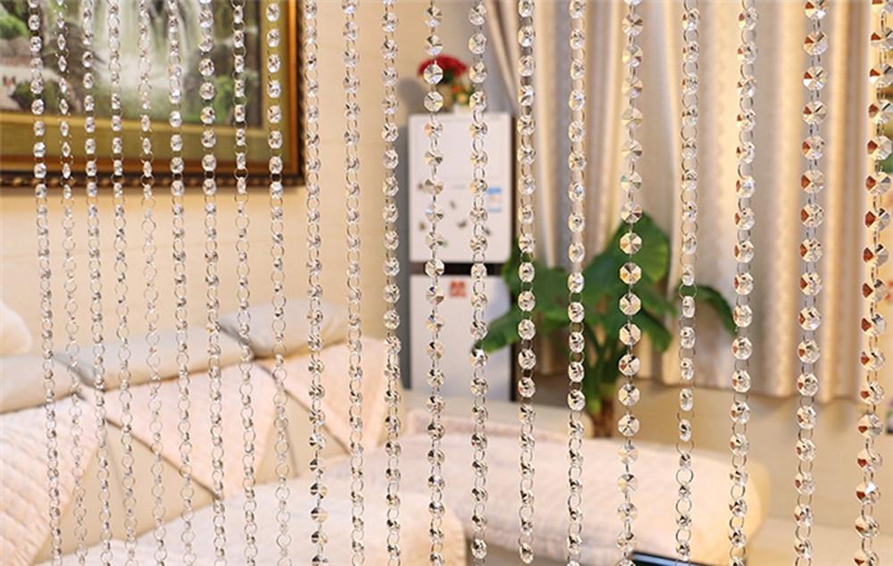 La decoración del hogar del grano de cristal de cristal cortina de la sala dormitorio ventana de la puerta decoración de la boda octogonal cordón de cortina