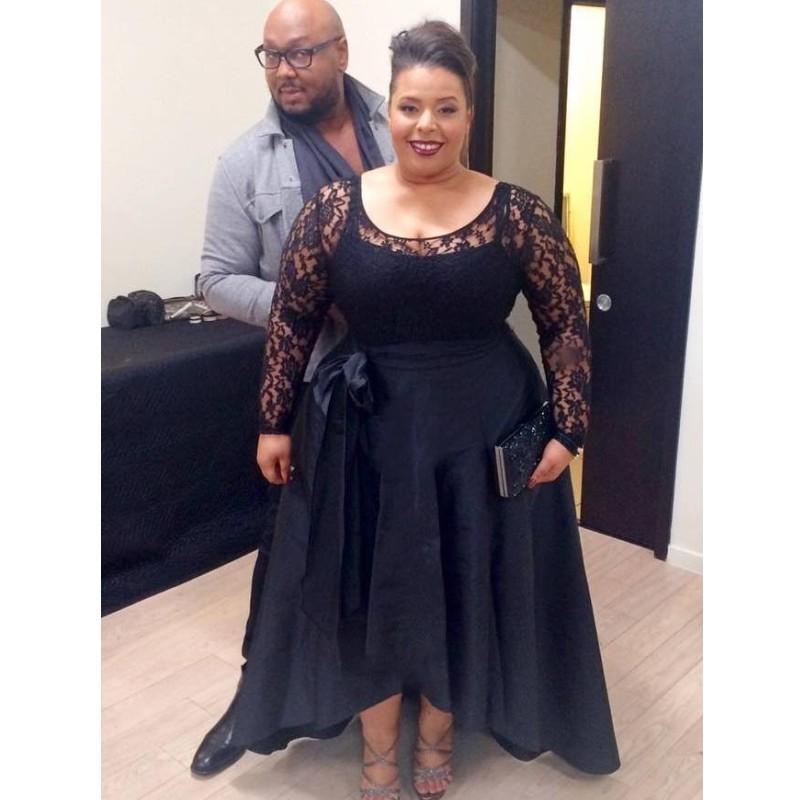 Corta más el tamaño de vestidos de noche de baile Dubai 2020 Negro de encaje y satén de los vestidos formales