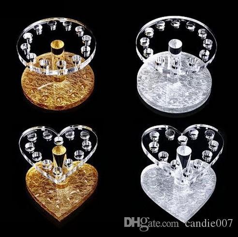 قلب لطيف شكل 12 ثقبا فرشاة ماكياج حاملة قلم مسمار قلم عرض رف منظم القلب الذهبي 4 أساليب