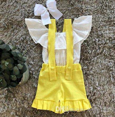 2020 Summer School Styles Toddler Baby Girl Clothes Cotton Tops T-Shirt +Bib Shorts Casual Outfit Set 1-5Y