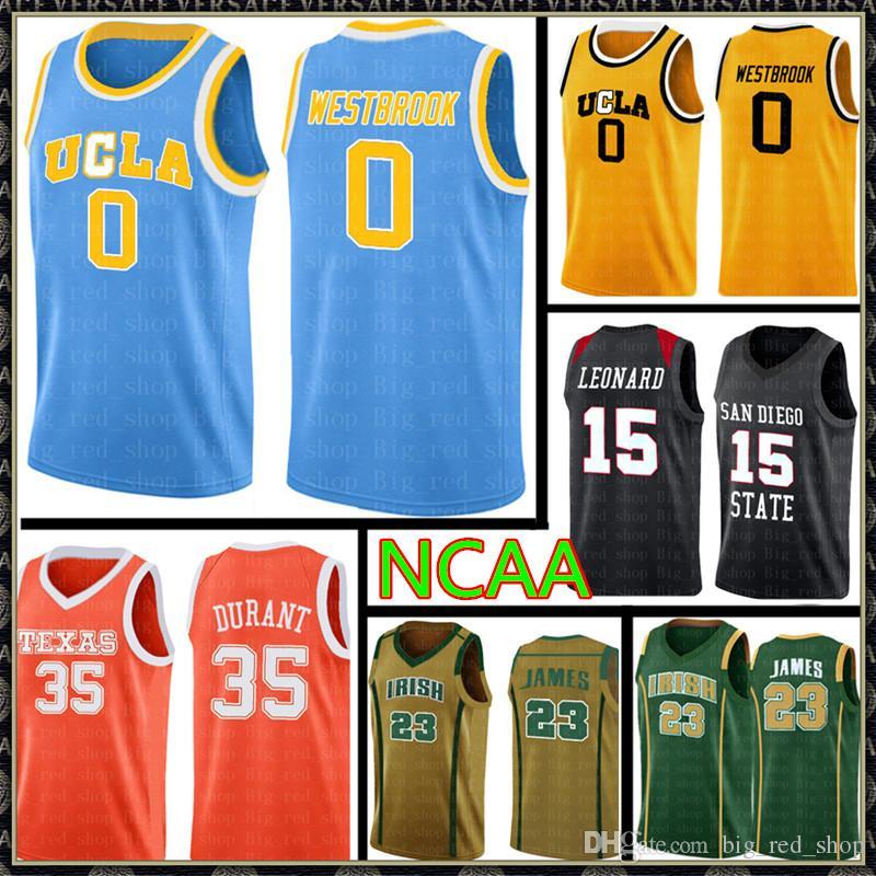 UCLA 러셀 0 웨스트 브룩 레지 (31) 밀러 저지 NCAA 대학 Kawhi (15) 레너드 저렴한 도매 농구 유니폼 자수 로고