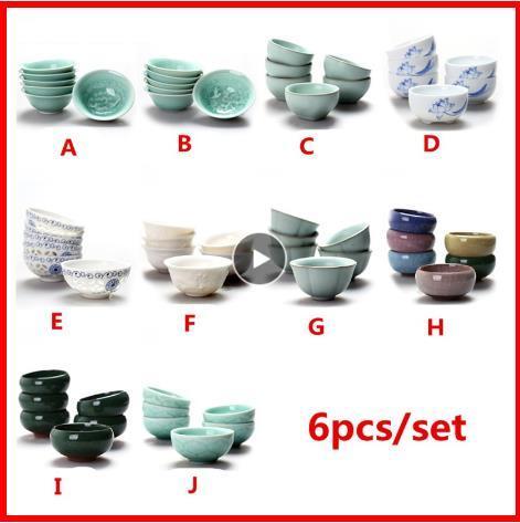 2020 6pcs/set Chinese ceramic cups fish cups blue white Kung Fu teapot small porcelain tea bowl tea cup tea set accessories drink