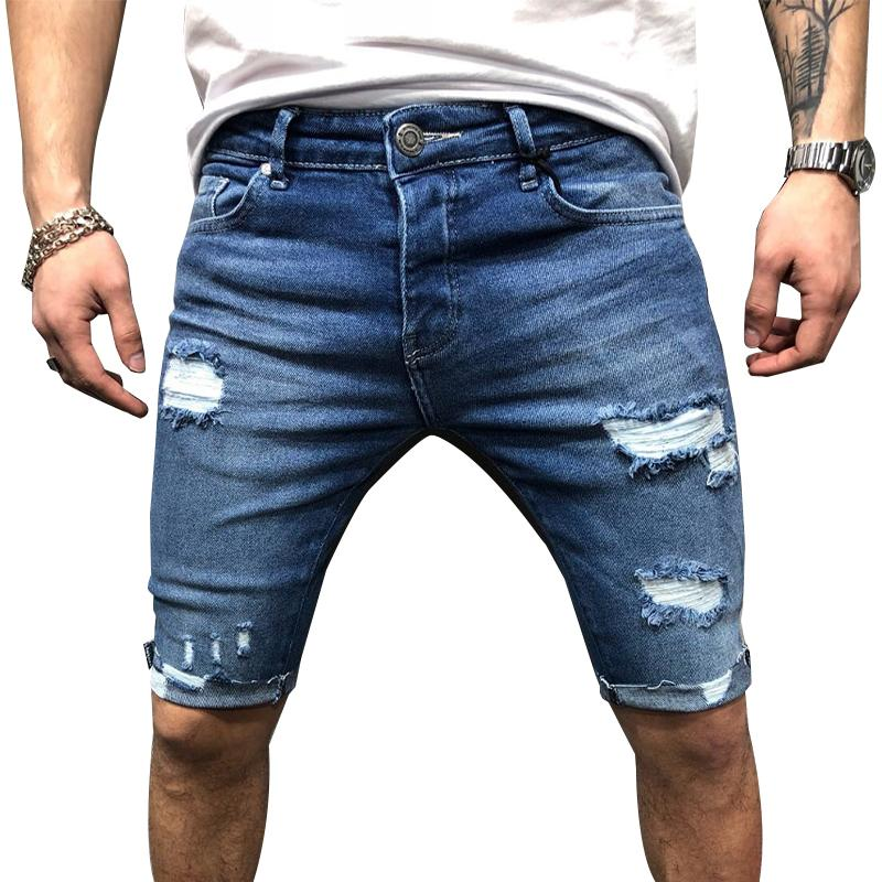 Sommer-Männer Denim-Shorts Street beiläufige Jeans-Shorts für Männer Loch Sexy Männlich Kleidung pantalones cortos hombre Jeans Shorts # w