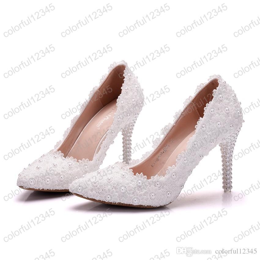 2019 neue Stil Spitze Blume Hochzeit Schuhe Schöne Heiße Verkauf Frauen High Heels Mädchen Party Prom Pumps Brautschuhe Weiß 9 CM Heels