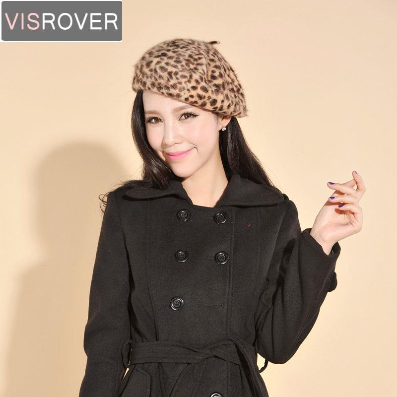 VISROVER 2018 New Leopard Print Women Winter Berets Animal Print Vintage Sexy Chic Girl Baret Faux Fur Beret Knitted Hats