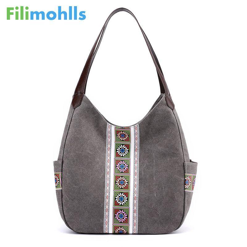 2020 sac de dames mignon sac à main sac à main d'impression épaule occasionnel pour les femmes fourre-tout coton vintage grande toile S2094