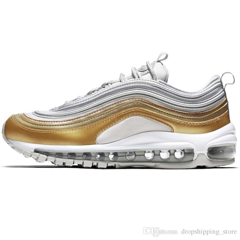 Compre Nike Air Max 97 Hombres Mujeres Zapatos Para Correr Gamuza Triple Negro Plata Oro Bullet Metallic Pack Mustard Designer Trainer Sport Sneaker