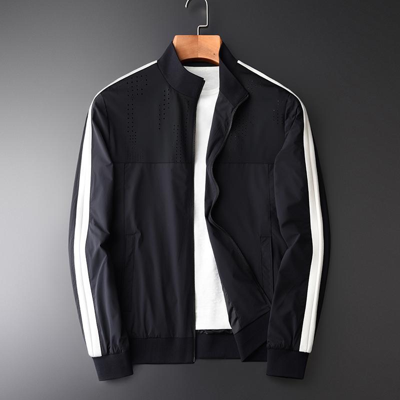 Frühling und Herbst Hülsen-Kontrast-Farben-Jacken Hight Qulity Art und Weise dünne beiläufige dünne Sitz Stehkragen Jcaket M-4XL