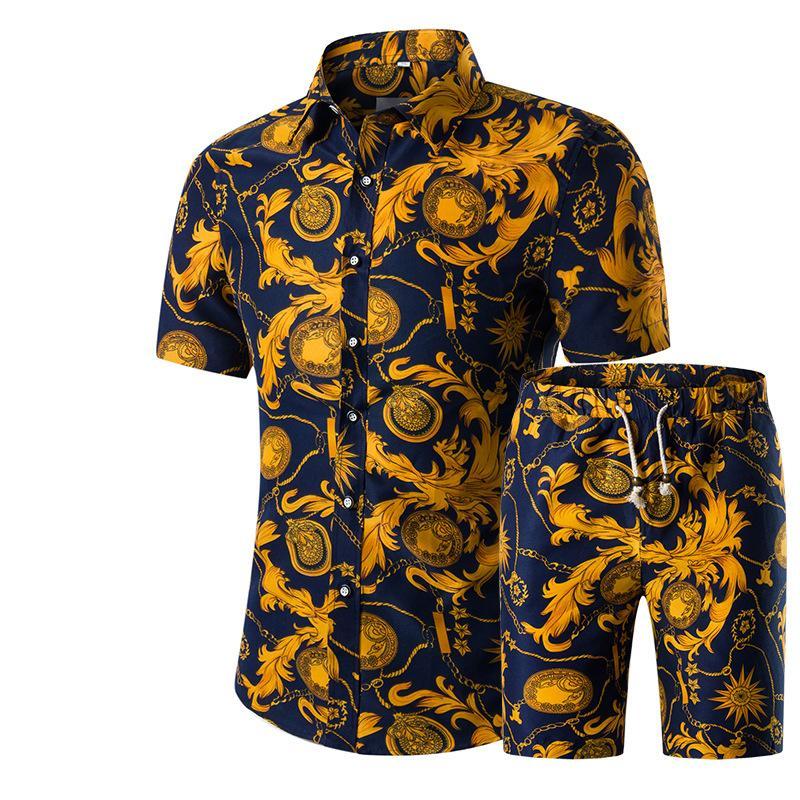 Tasarımcı Yeni Moda Erkek Gömlek Şort Set Yaz Rahat Baskılı Gömlek Homme Kısa Erkek Baskı Elbise Suit Setleri Artı Boyutu 5XL