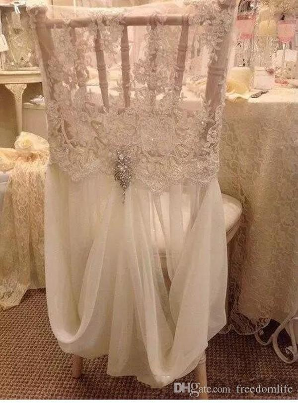 Link For Chair Cover Romantic Beautiful Cheap Chiffon Lace Real Picture Chair Sashes Colorful Wedding Supplies