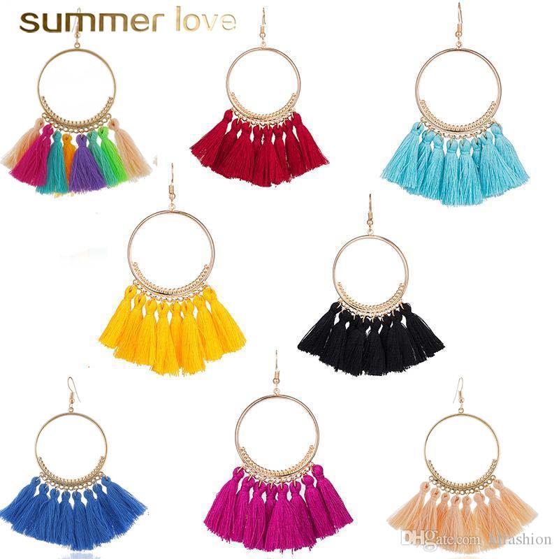 16 colores borlas pendientes de la moda étnica de Bohemia para las mujeres hechas a mano joyas de colores pendientes Declaración de aro grande para la muchacha 2019 regalos más nuevos