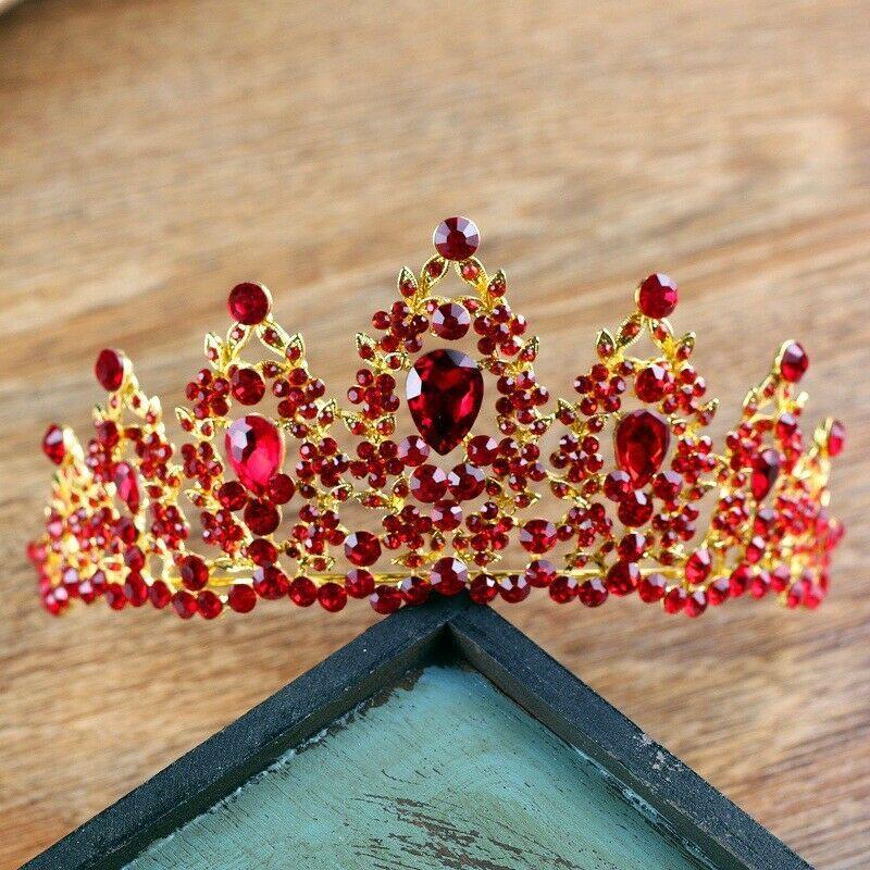 زفاف العرسان الأحمر حجر الراين تيارا ولي اكسسوارات للشعر غطاء الرأس هدية فاخرة التيجان الباروك عيد الميلاد عقال كبير