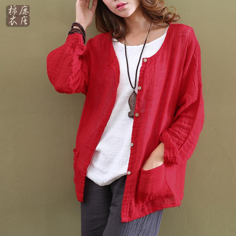 Spring Autumn Women Cardigan Cotton Linen Solid Color Long-Sleeve Female Clothes Loose Casual Women Plus Size Tops