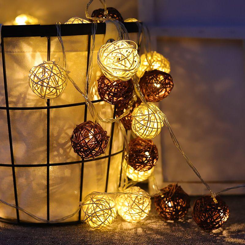 Fábrica rottan Bolas Pisca-Pisca LED Garland Bolas Indoor Pátio luzes 2020 Árvore de Natal da festa de casamento de Ano Novo Quarto dezembro