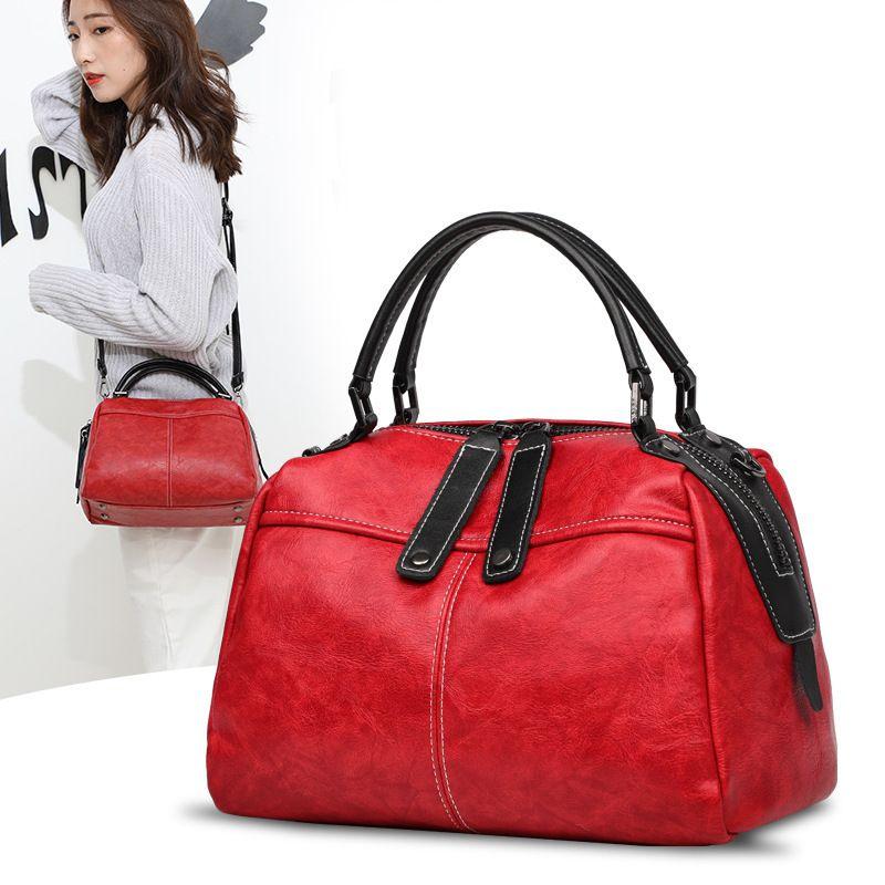 Distinctive2019 Woman Genuine Leather Pillow Boston Cowhide Atmosphere Handbag Trend Single Shoulder Package