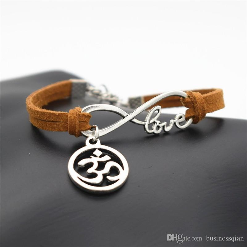Big Discount Hand-woven Brown Leather Suede Infinity Love Buddhist 3D Ohm Aum Yoga OM Charm Bracelets & Bangles Women Men Alloy Cuff Jewelry