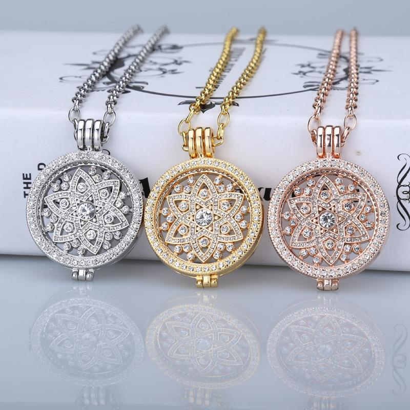 Deluxe 35mm coin necklace pendants fit disc 33mm coins holder woman girl decorative fashion jewelry crystal rose gold