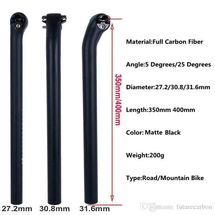 Ultra Light Bicycle Seat Post Carbon Fiber Seatpost 27.2//30.8//31.6mm Black