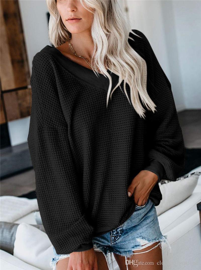 Mode Big V-Ausschnitt Pullover-lose Sexy Flügel-Hülsen-Wolle Cashmere-Pullover Winter-Damen-Tops