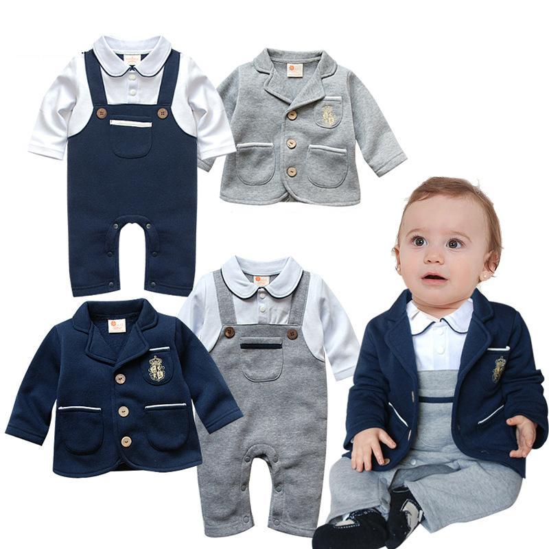 New Baby Strampler Long Sleeve Umlegekragen Fliege Gentleman Kostüme Frühlings-Herbst-Baumwollsäuglings Jumpsuits